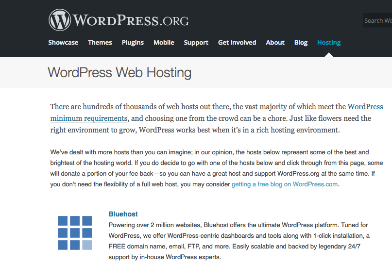 WordPress recommends Bluehost