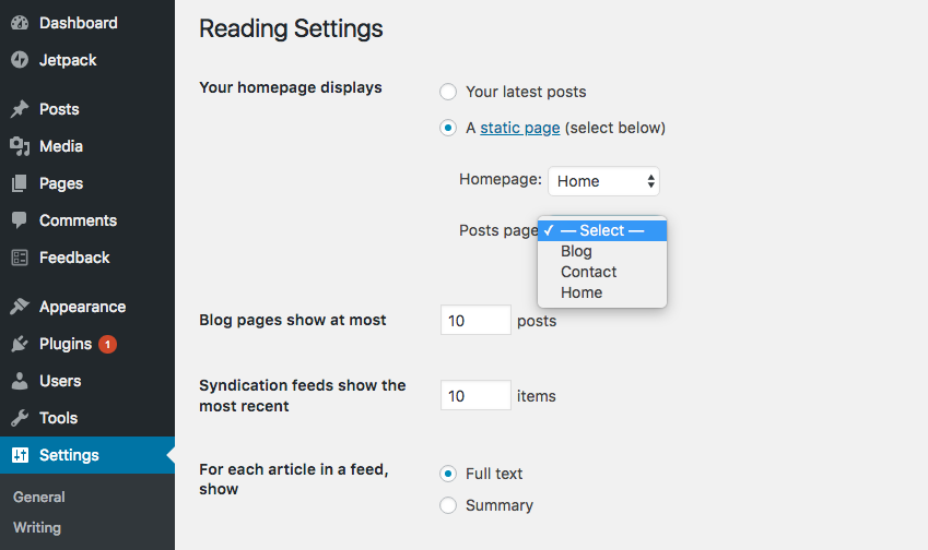 WP reading settings