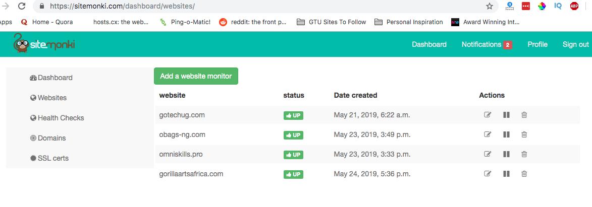 SiteMonki dashboard