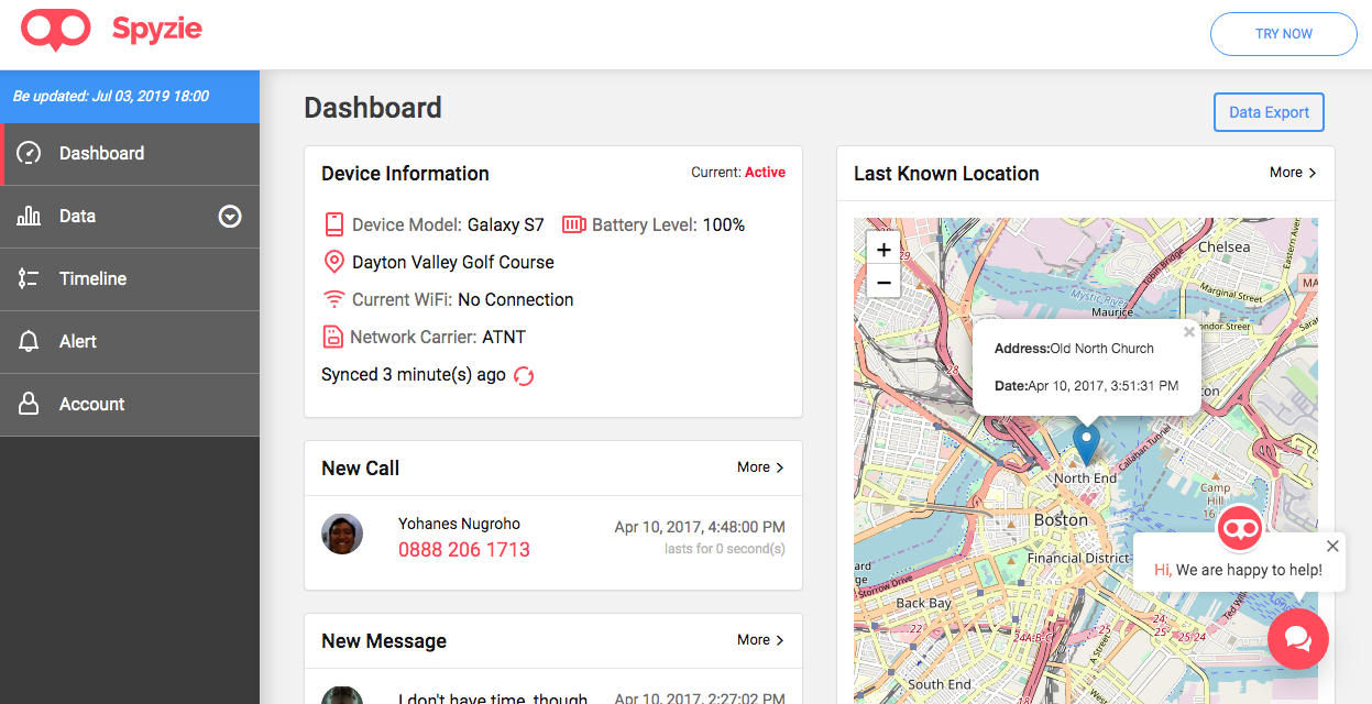 Android tracking dashboard