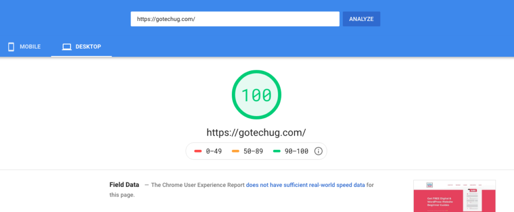 GoTechUG speed page score 100