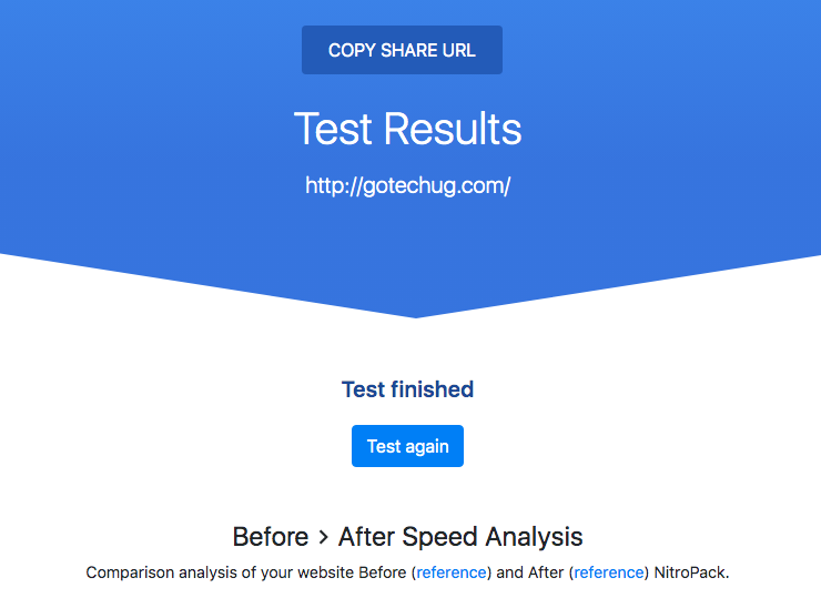 NitroPack Test Speed